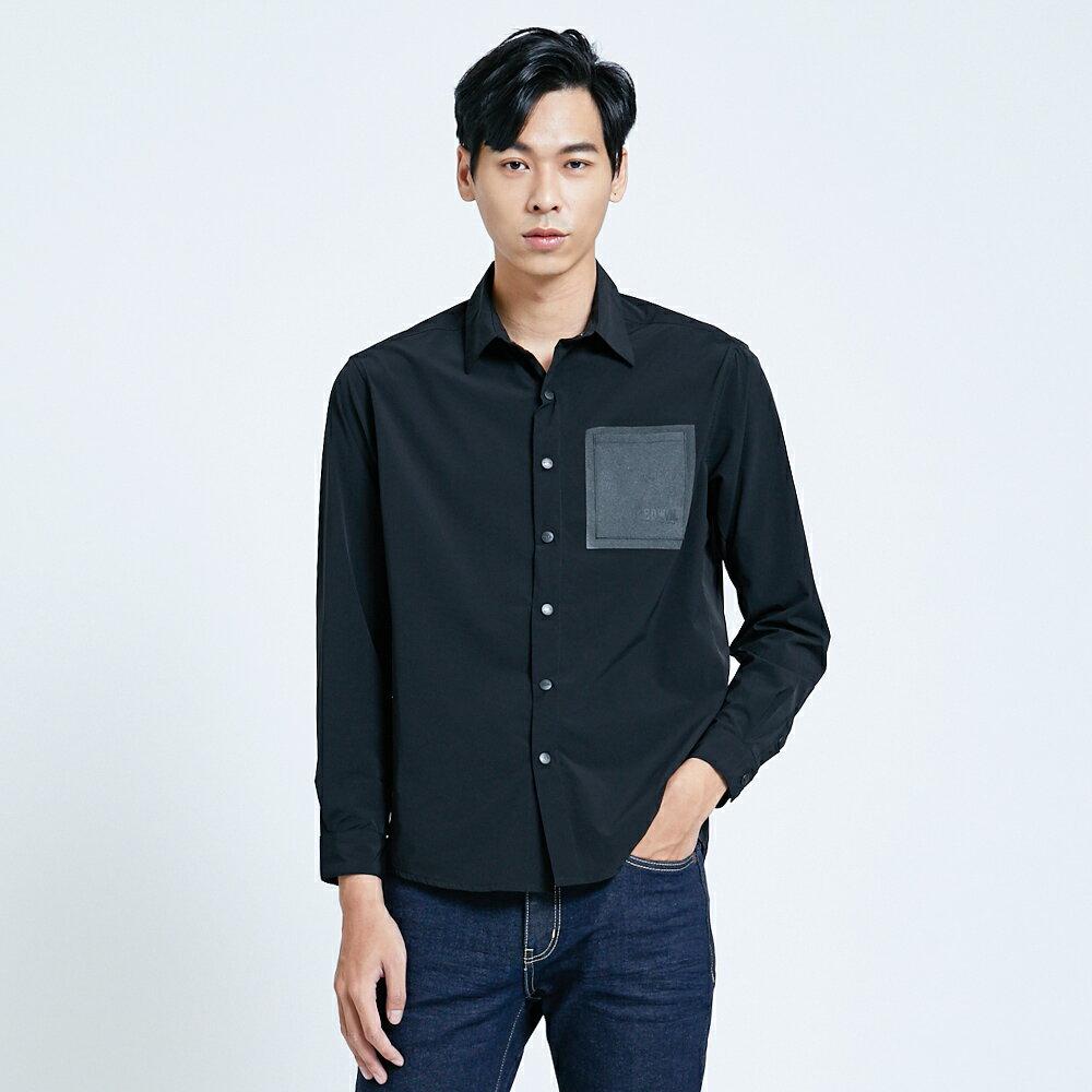 EDWIN EFS異材質剪接 薄長袖襯衫-男款 黑色 1