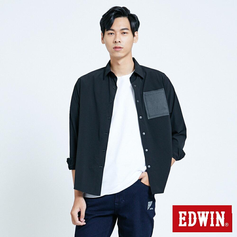 EDWIN EFS異材質剪接 薄長袖襯衫-男款 黑色 0