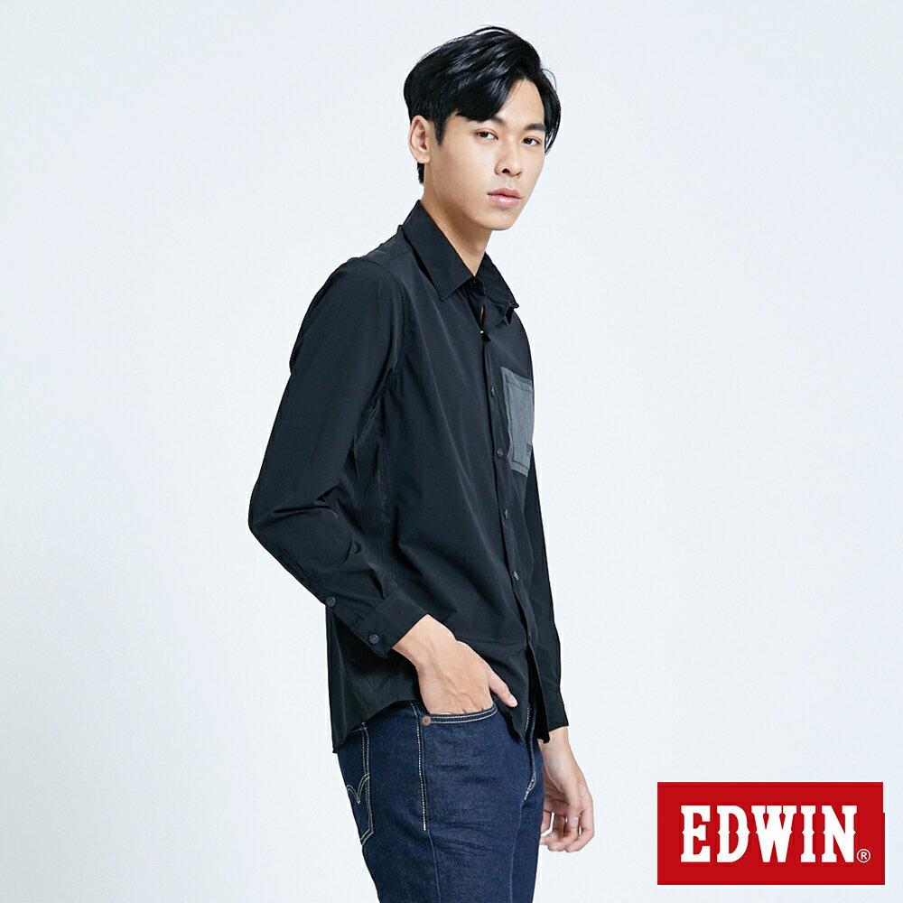 EDWIN EFS異材質剪接 薄長袖襯衫-男款 黑色 3
