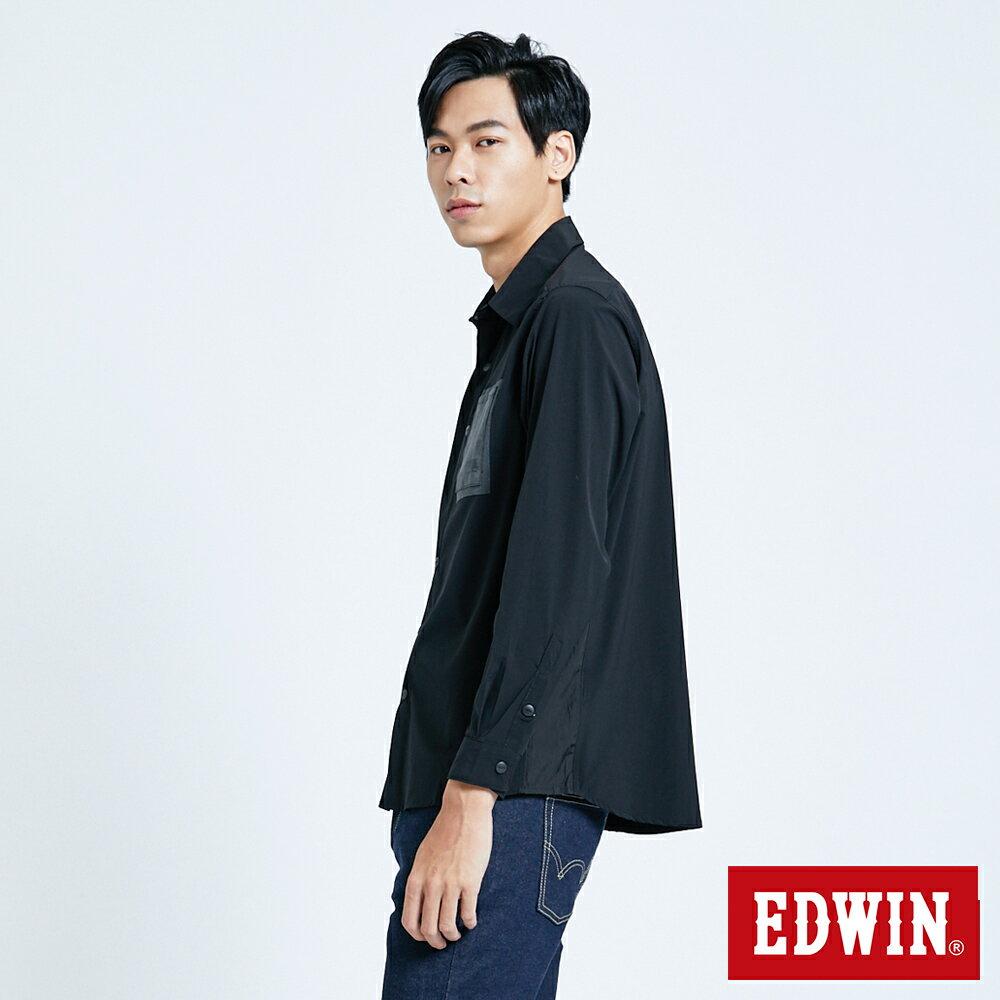 EDWIN EFS異材質剪接 薄長袖襯衫-男款 黑色 4