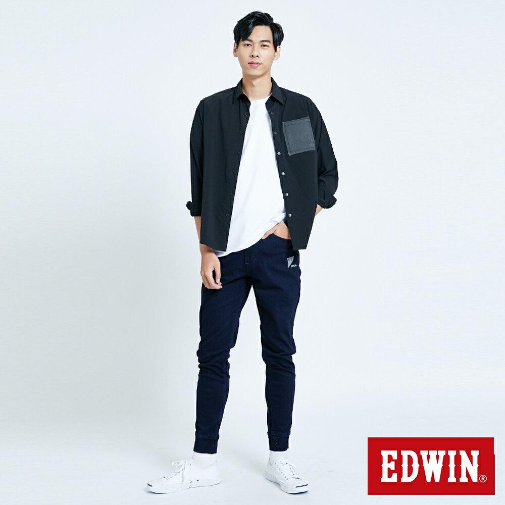 EDWIN EFS異材質剪接 薄長袖襯衫-男款 黑色 5