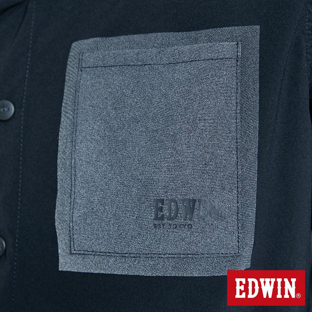 EDWIN EFS異材質剪接 薄長袖襯衫-男款 黑色 6