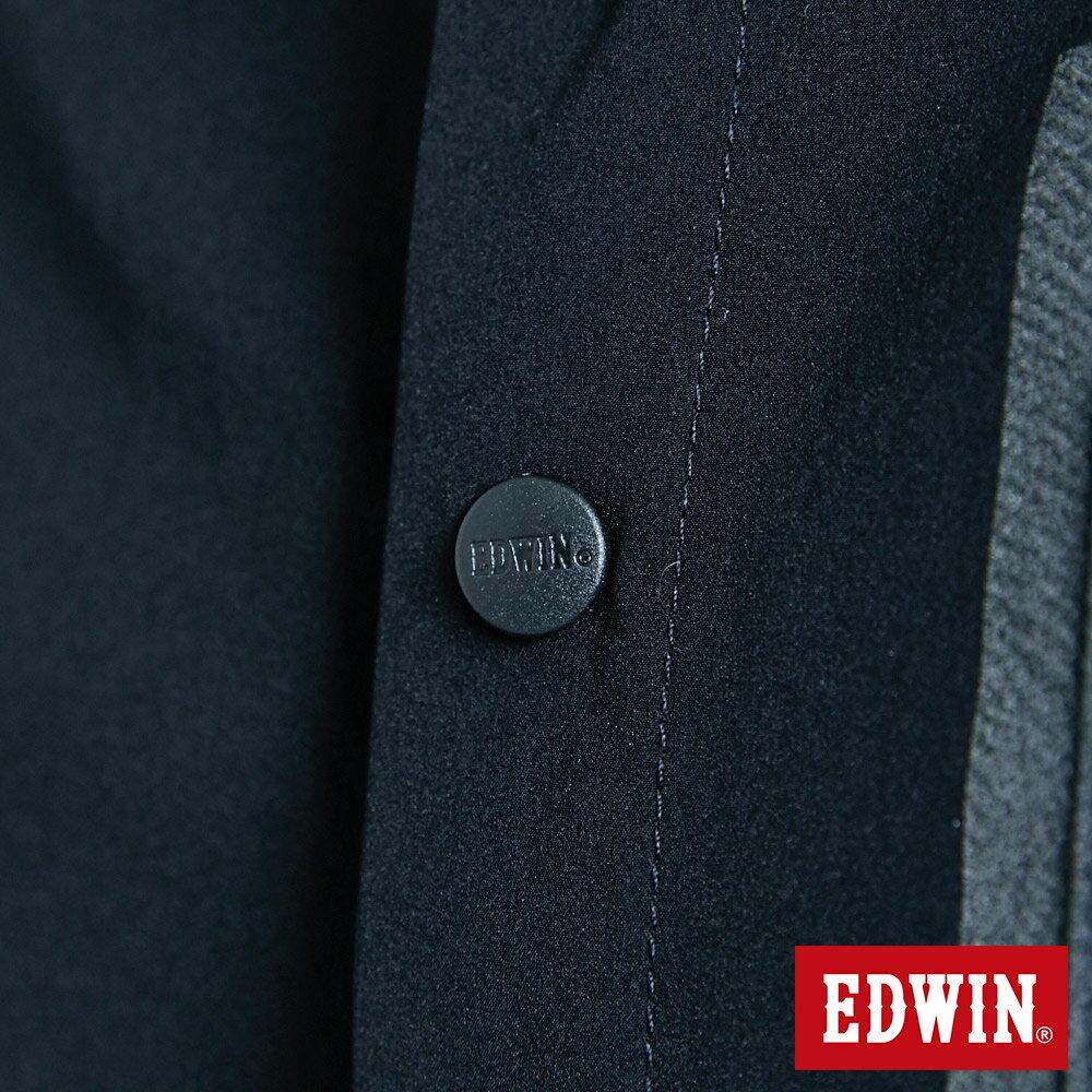 EDWIN EFS異材質剪接 薄長袖襯衫-男款 黑色 7