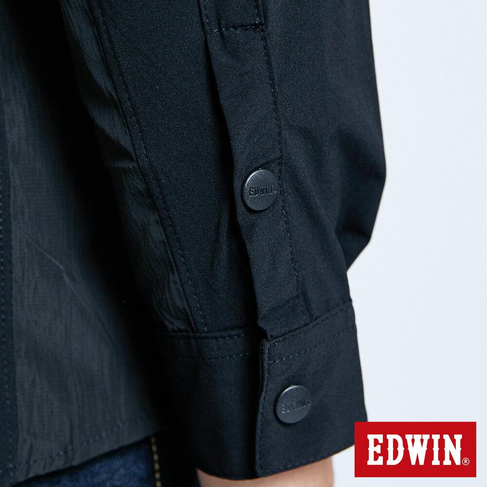 EDWIN EFS異材質剪接 薄長袖襯衫-男款 黑色 8