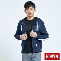 EDWIN 復古運動背LOGO連帽外套-男款 丈青-EDWIN-潮流男裝