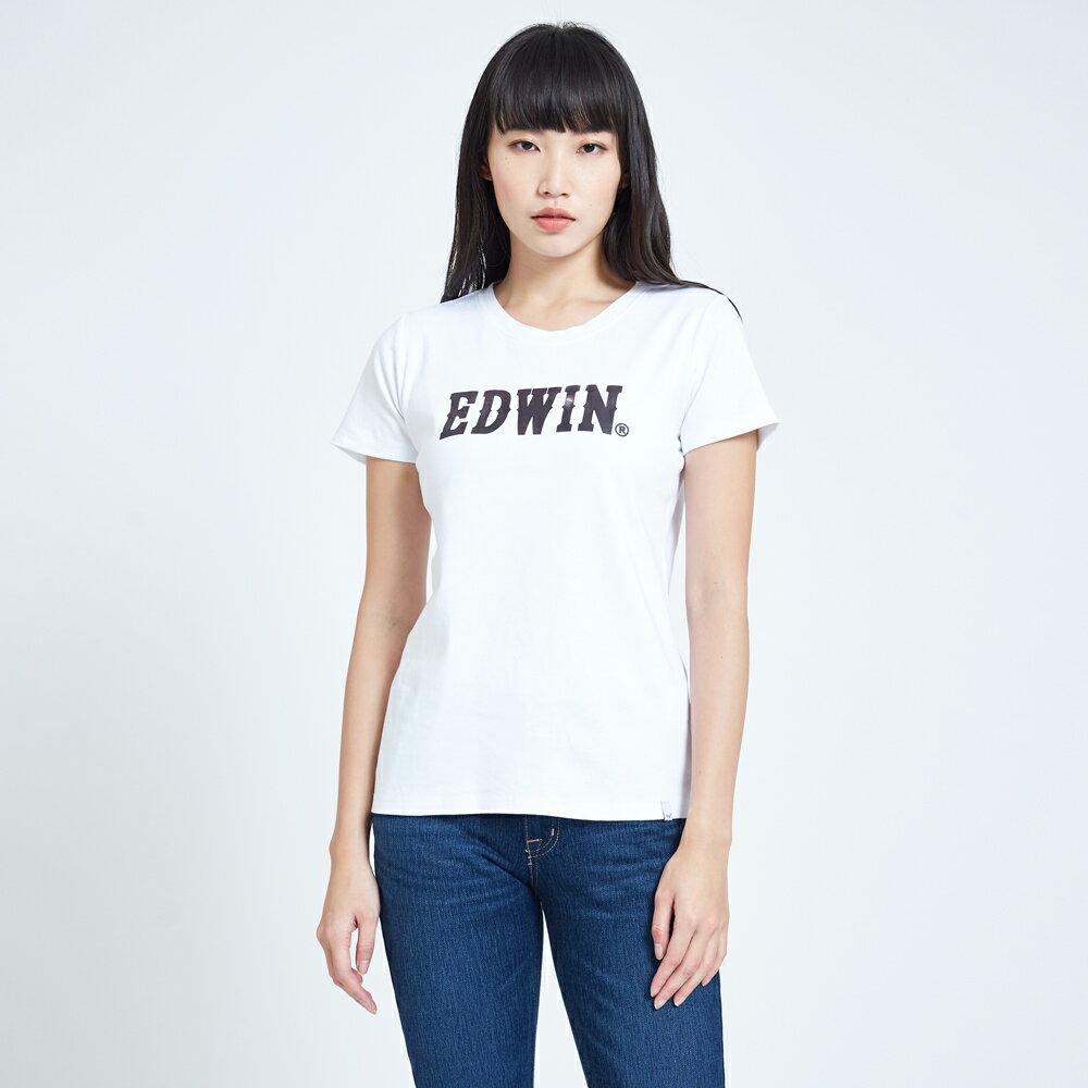 新品↘EDWIN EFS溫變迷彩LOGO 短袖T恤-女款 白色 1