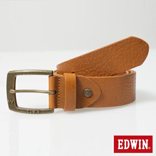 【9折優惠↘】EDWIN 細點壓紋帶頭皮帶-男款 褐色