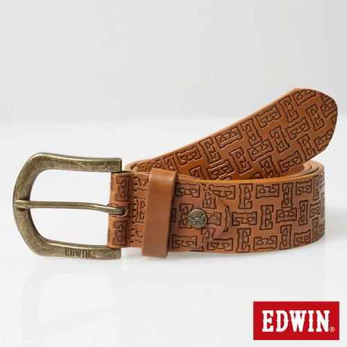 【9折優惠↘】EDWIN 滿版壓字皮帶-男款 褐色