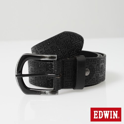【9折優惠↘】EDWIN 滿版壓字皮帶-男款 黑色