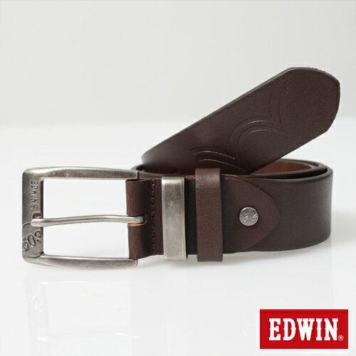 【9折優惠↘】EDWIN 帶頭拷字皮帶-男款 深咖啡