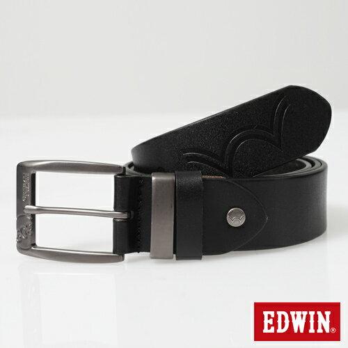 【9折優惠↘】EDWIN 帶頭拷字皮帶-男款 黑色
