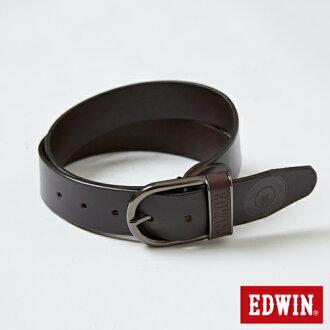 【9折優惠↘】EDWIN 貼皮帶頭皮帶-男款 深咖啡