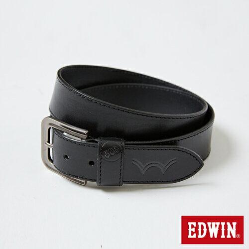 【新品上市↘】EDWIN 凹槽帶頭皮帶-男款 黑色