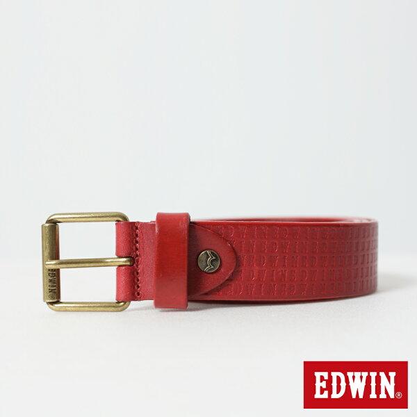 【新品上市↘】EDWIN滿版LOGO烙印細版皮帶-男款紅色【5月會員消費滿3000元再賺15%點數】