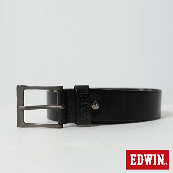 【新品上市↘】EDWIN帶頭頂烙印皮帶(加長版)-男款黑色【5月會員消費滿3000元再賺15%點數】