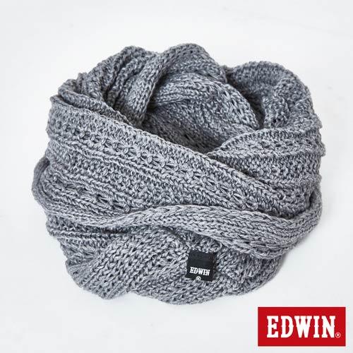 【新品送野餐墊↘】EDWIN 花紗編織保暖圍脖-中性 麻灰【9/30前指定新品單筆滿3800就送EDWIN迷彩野餐墊↘隨貨寄出↘】