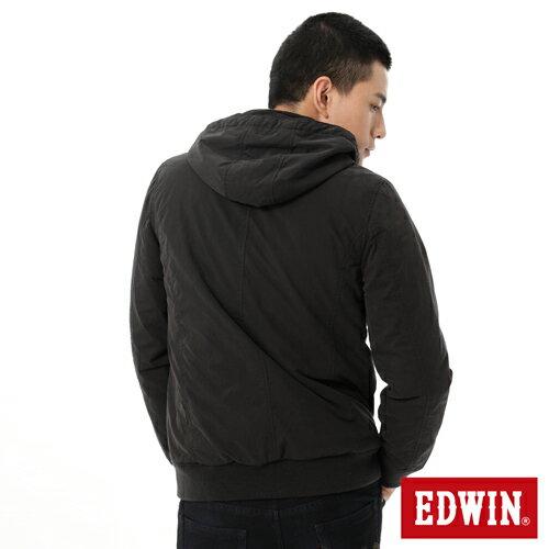 【網路限定款。5折優惠↘】EDWIN 運動休閒連帽 舖棉外套-男-黑色 1