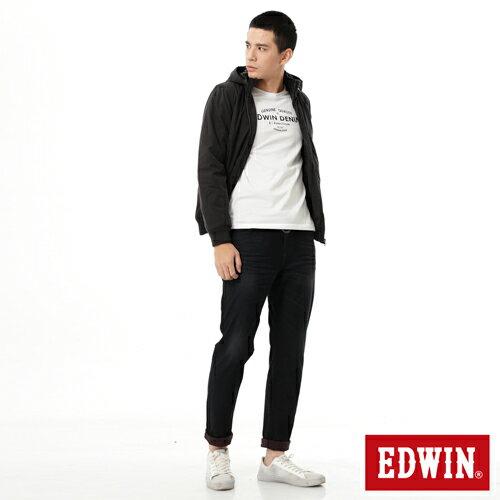【網路限定款。5折優惠↘】EDWIN 運動休閒連帽 舖棉外套-男-黑色 2