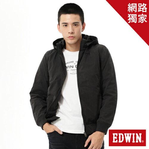 【1200元優惠↘】EDWIN 運動休閒連帽 舖棉外套-男款 黑色【網路限定販售↘】【2/20單筆消費滿799元| APP結帳輸入序號APP180220 再折100↘數量有限↘限用一次】