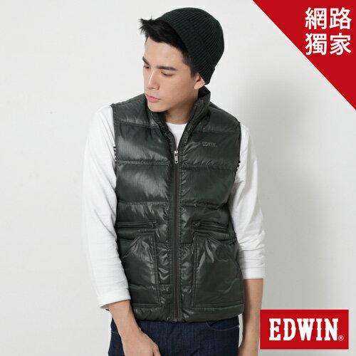 【1200元優惠↘】EDWIN 率性立領雙拉鍊 羽絨背心-男款 苔綠細直紋【網路限定販售↘】