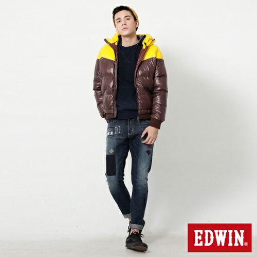 【5折優惠↘】EDWIN 雙色剪接連帽 羽絨外套-男-黃色 2