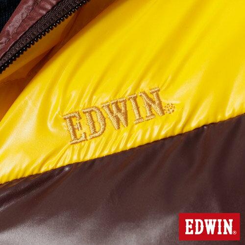 【5折優惠↘】EDWIN 雙色剪接連帽 羽絨外套-男-黃色 4
