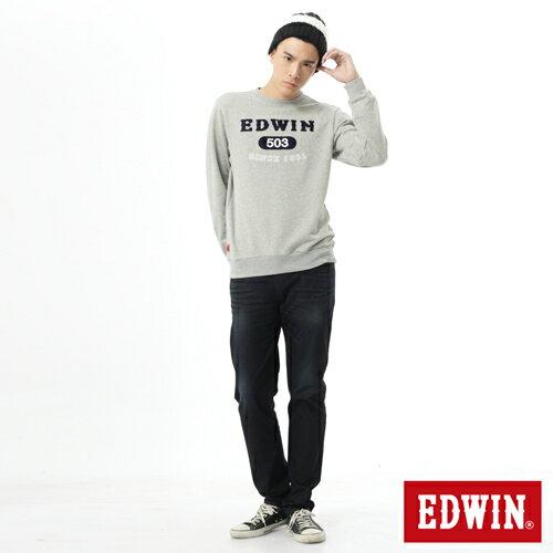 【5折優惠↘】EDWIN 簡約LOGO 長袖厚絨T-男-麻灰 3
