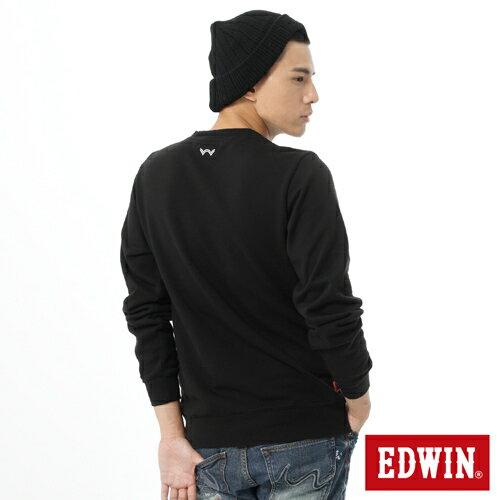 【5折優惠↘】EDWIN 簡約LOGO 長袖厚絨T-男-黑色 2