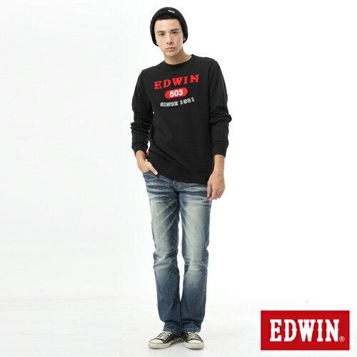 【1/20-23 假日限定。下單再85折↘】EDWIN 簡約LOGO 長袖厚絨T-男-黑色 3