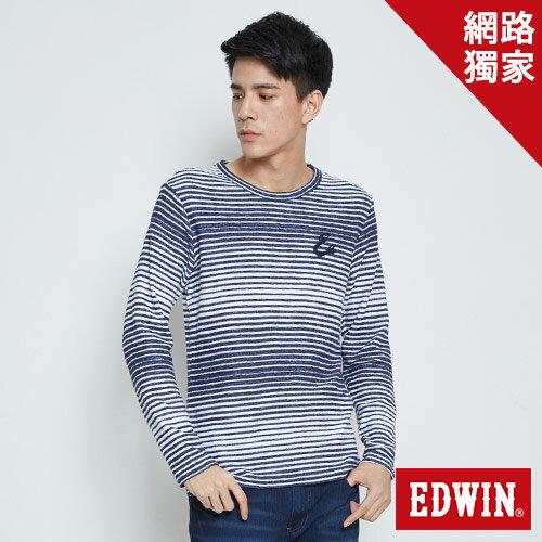 【590元優惠↘】EDWIN草寫E繡花長袖T恤-男款丈青【網路限定販售↘】