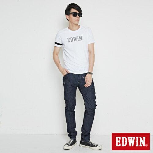 【最愛T恤。專區490元均一價↘】EDWIN 幾何LOGO運動風 短袖T恤-男款 白色 3