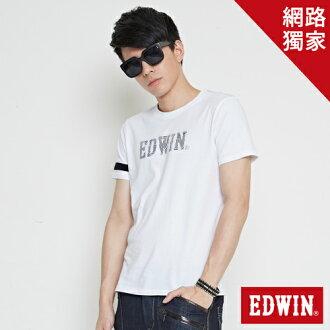 【最愛T恤專區。490元均一價↘】 【零碼】EDWIN 幾何LOGO運動風 短袖T恤-男款 白色【單筆滿1000 | 結帳輸入序號loveyou-100再折100↘數量有限↘限用一次】