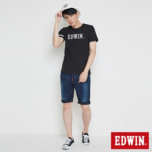 【最愛T恤。專區490元均一價↘】EDWIN 幾何LOGO運動風 短袖T恤-男款 黑色【4/26單筆588輸入序號17marathon-3。再折88元 /單筆1800輸入序號EDWIN200-1。再折200】 3