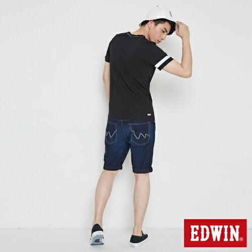 【最愛T恤。專區490元均一價↘】EDWIN 幾何LOGO運動風 短袖T恤-男款 黑色【4/26單筆588輸入序號17marathon-3。再折88元 /單筆1800輸入序號EDWIN200-1。再折200】 4