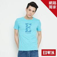 EDWIN 海浪紋E字 短袖T恤-男款 水藍色-EDWIN-潮流男裝
