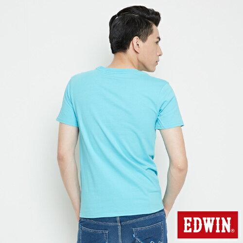 【網路限定款。8折優惠↘】EDWIN 海浪紋E字 短袖T恤-男款 水藍色 1