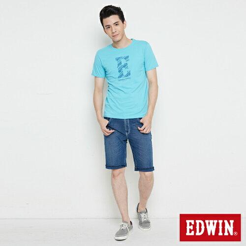 【網路限定款。8折優惠↘】EDWIN 海浪紋E字 短袖T恤-男款 水藍色 3