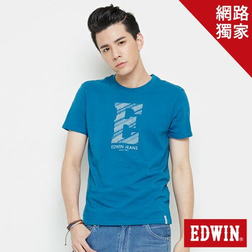 【網路限定款。8折優惠↘】EDWIN 海浪紋E字 短袖T恤-男款 灰藍色 0