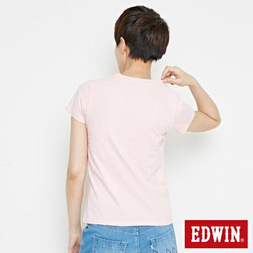 【網路限定款。8折優惠↘】EDWIN 海浪紋E字 短袖T恤-女款 淺粉紅 1