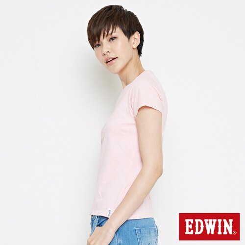 【網路限定款。8折優惠↘】EDWIN 海浪紋E字 短袖T恤-女款 淺粉紅 2
