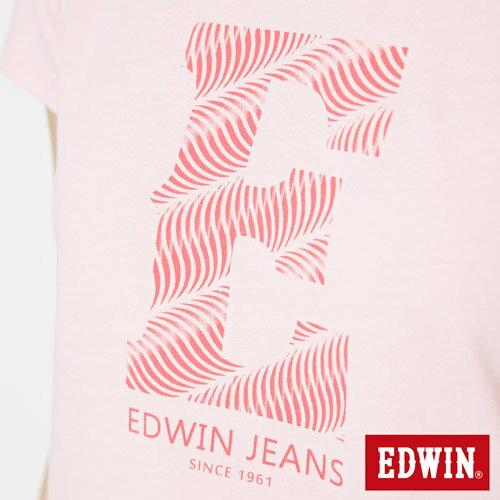 【網路限定款。8折優惠↘】EDWIN 海浪紋E字 短袖T恤-女款 淺粉紅 4