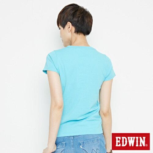 【網路限定款。8折優惠↘】EDWIN 海浪紋E字 短袖T恤-女款 水藍色 1