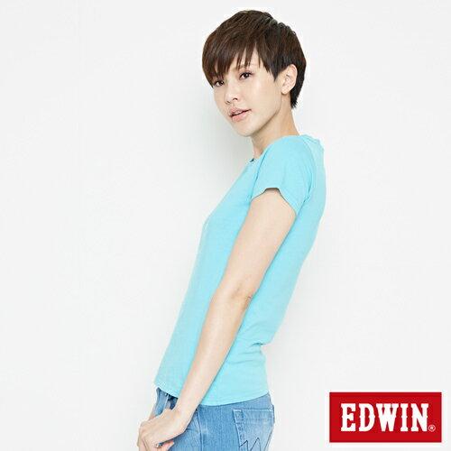 【網路限定款。8折優惠↘】EDWIN 海浪紋E字 短袖T恤-女款 水藍色 2