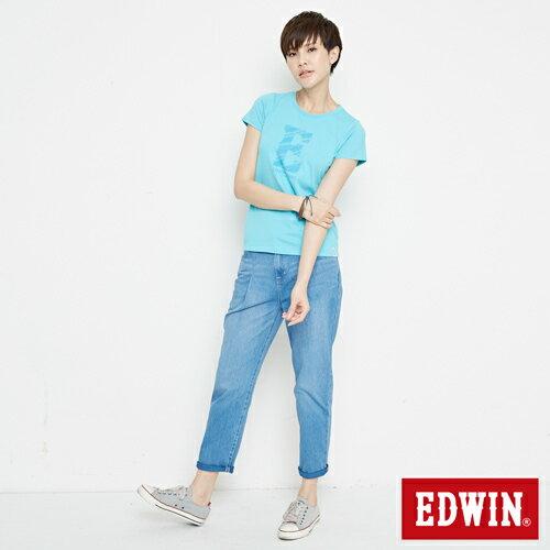 【網路限定款。8折優惠↘】EDWIN 海浪紋E字 短袖T恤-女款 水藍色 3