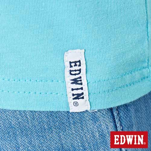 【網路限定款。8折優惠↘】EDWIN 海浪紋E字 短袖T恤-女款 水藍色 5