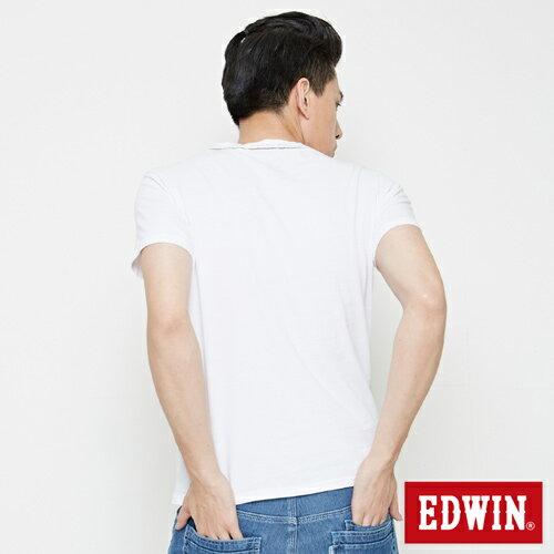【網路限定款。8折優惠↘】EDWIN 3D幾何圓圖 短袖T恤-男款 白色 1