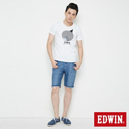 【網路限定款。8折優惠↘】EDWIN 3D幾何圓圖 短袖T恤-男款 白色 3