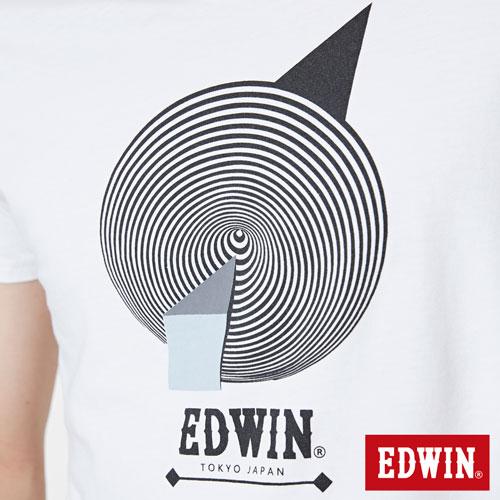 【網路限定款。8折優惠↘】EDWIN 3D幾何圓圖 短袖T恤-男款 白色 4