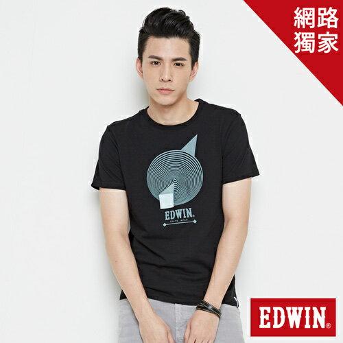 【490元優惠↘】EDWIN 3D幾何圓圖 短袖T恤-男款 黑色【5月會員 消費滿3000元再賺15%點數】