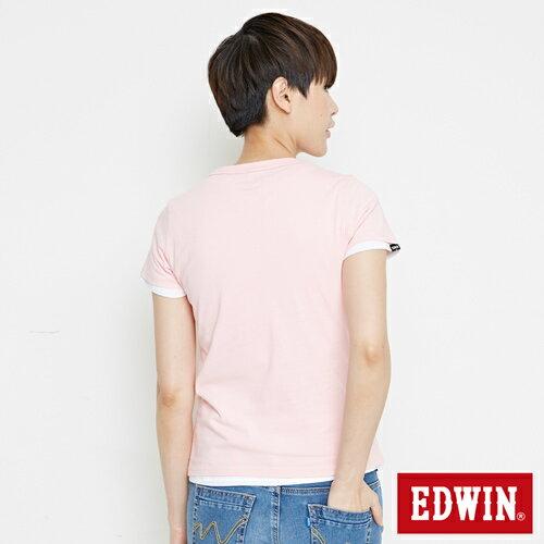 【網路限定款。8折優惠↘】EDWIN 3D幾何圓圖 短袖T恤-女款 淺粉紅 1